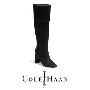 Cole Haan Womens Black Tess Suede Cuff Boot Sz 8.5